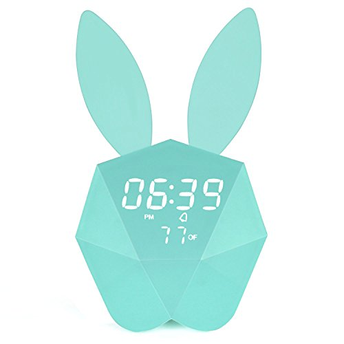 Bunny Rabbit Alarm Clock LED Night-Light Voice Control Sound Sensitive Time Temperature Digital Display Strong Magnetic Adsorption Li-ion Battery Rechargeable Baby Gift (Macaron Blue)