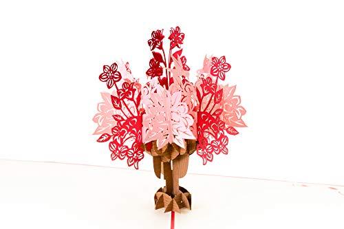 Bruiloftskaart 3D pop-up, roze-rode bloesemboeket, bijzondere, romantische felicitatiekaart voor bruiloft, huwelijk, geldgeschenk, huwelijkscadeau, uitnodigingskaarten, liefde, origineel