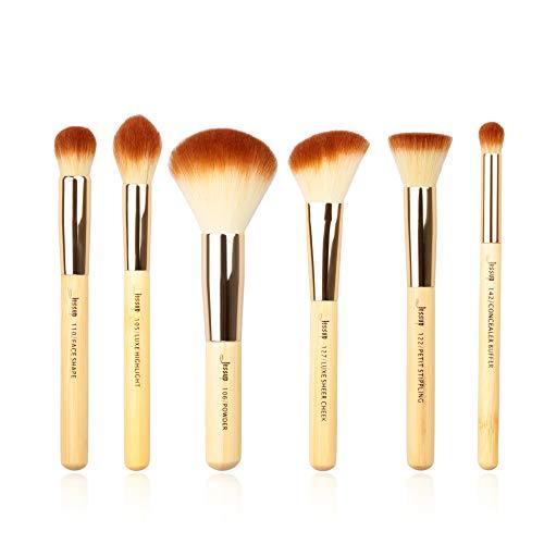 Jessup 6Pz Set di pennelli in bambù con capelli sintetici Pennelli per il viso Evidenziatore in polvere Correttore Blush Contour T144