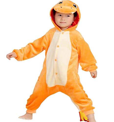 CYSPORTS Kids Cartoon Onesies Pajamas Children's Unisex Cosplay Costume Sleepwear Charmander Orange