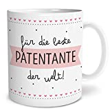 OWLBOOK Beste Patentante Große Kaffee-Tasse mit Spruch im Geschenkkarton