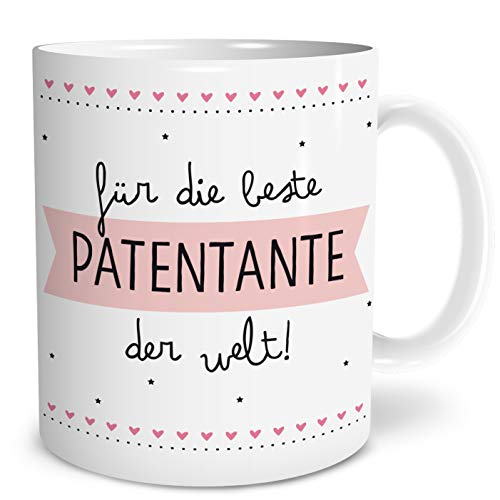 OWLBOOK Beste Patentante Große Kaffee-Tasse mit Spruch im Geschenkkarton Geschenke Geschenkideen für Patentante zum Geburtstag Weihnachten