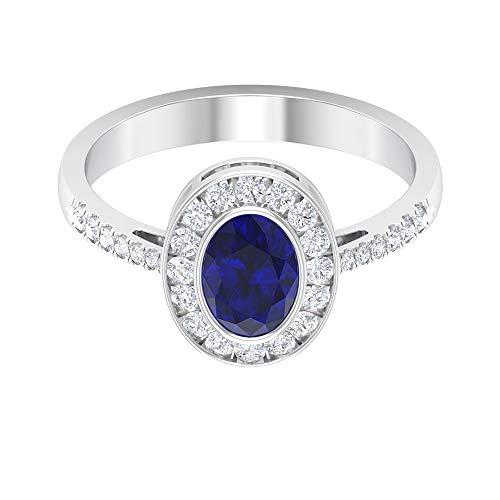 Rosec Jewels - Anillo de compromiso solitario con 1 ct de zafiro azul creado en laboratorio, anillo de piedra lateral con diamante HI-SI de 0,43 quilates, 14K Oro blanco, Size:EU 54