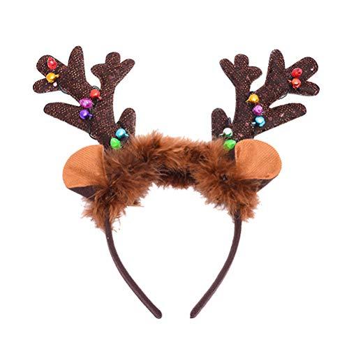 Amosfun Reindeer Light Up Headband Christmas Holiday Party Headband Reindeer Antler Flash Hair Hoop Headwear for Children Adult Party Costume