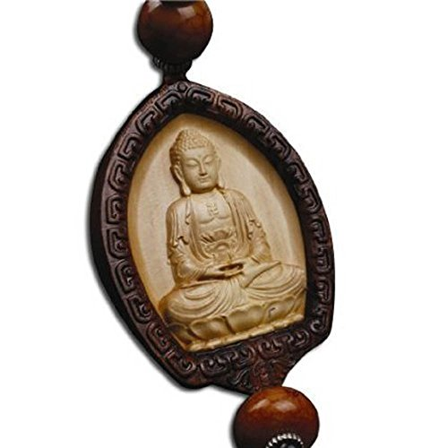 duojimi Chines Traditional Style Wood Car Hanging Ornament-Sakyamuni Buddha