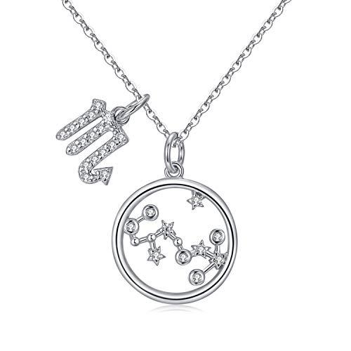 Qings Collar Plata Mujer Zodíaco Escorpio BFF Amigas Amistad Collares Símbolos del Astrología Colgante Horóscopo, Navidad Regalo para Mujer Niña Fiesta