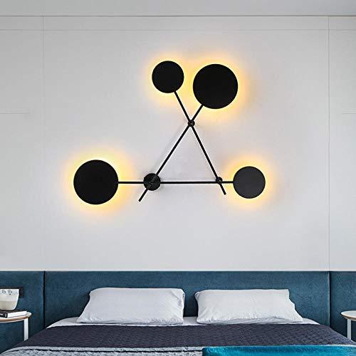 MJSM wandlampen voor woonkamer, Noors, persoonlijkheid, eenvoudige decoraties, creatieve led-trappen, rond, hal, slaapkamer, wit licht groot