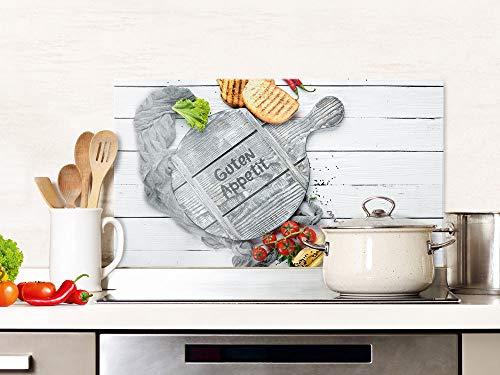 GRAZDesign Spritzschutz Küche Glas Spruch Guten Appetit Grau, Küchenrückwand Herd, Glasplatte / 80x50cm