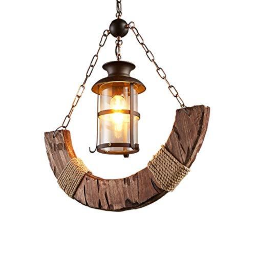 QIFFIY Lámpara colgante de madera vintage con cuerda de cáñamo, lámpara de cristal de hierro para sala de estar, comedor, decoración de candelabros (color: madera)