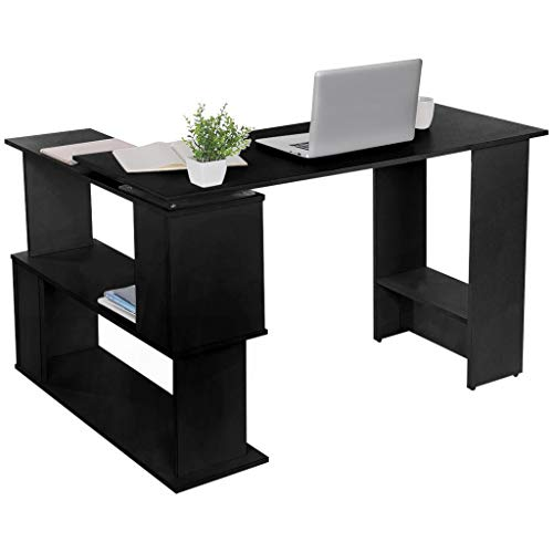 qiuQIlIN L-Shaped Corner Computer Desk, Student Writing Table with Bookshelf, Modern Home Office PC Laptop Gaming Table Study Workstation for Space-Saving