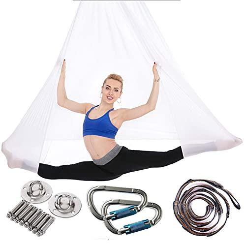 Columpio de hamaca de yoga aéreo elástico de 4 m, cinturones de inversión de yoga voladores antigravedad para entrenamiento de Pilates, conformación del cuerpo, conjunto completo de columpio de i