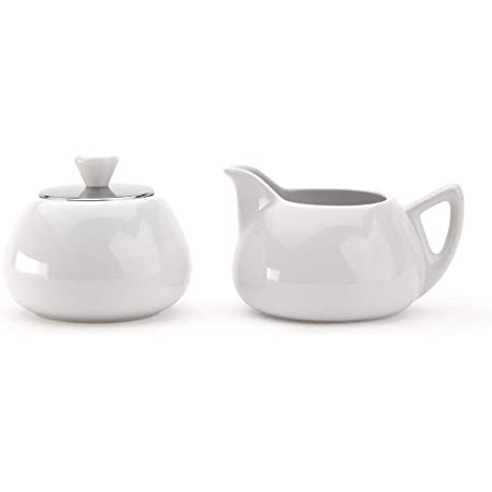 Amazon Com Bredemeijer Cosy Manto Ceramic And Stainless Steel Creamer And Sugar Set Spring White Coffee Services Cream Sugar Sets