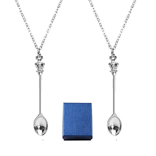2 PCS Spoon Necklace, Snuff Spoon Necklace Tea Spoon Necklace Pendant Spoon Chain Mini Silver Royal ibiza Spoon Necklace Charm Set Alice Festival Sniff Necklace with Jewelry Gift Box for Women Girls