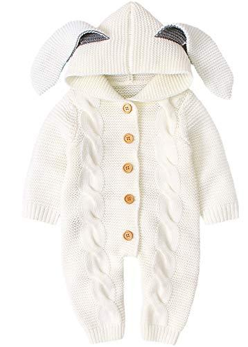 AGQT Newborn Baby Kapuzenstrick Strampler Ostern Niedlich 3D Hasenohr Kapuzenpullover Jumpsuit Outfits Weiß 12-18 Monate