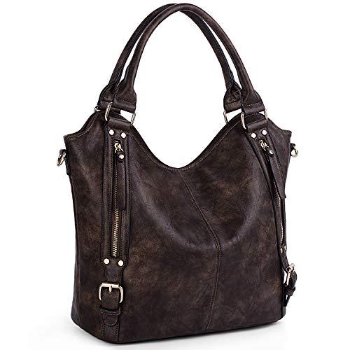 UTO Damen Tote Bags Handtaschen Cross Body Schultertaschen PU Leder Große Kapazität Innen Reißverschlusstaschen Äußere Seitentaschen Kaffee
