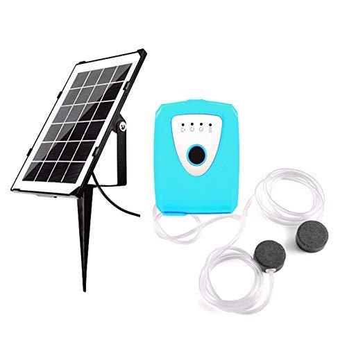 Blusea 3.5W Solar Teichbelüfter, Sauerstoffpumpe mit Zwei Luftblasenstein, 4400-mAh-Akku Wiederaufladbare Luftpumpe für Gartenteiche, Aquarium, Blau