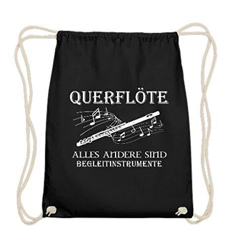 Querflöte Shirt · Musiker · Blasmusik · Musik · Musikinstrument · Musikverein · Hobby · lu - Baumwoll Gymsac -37cm-46cm-Schwarz