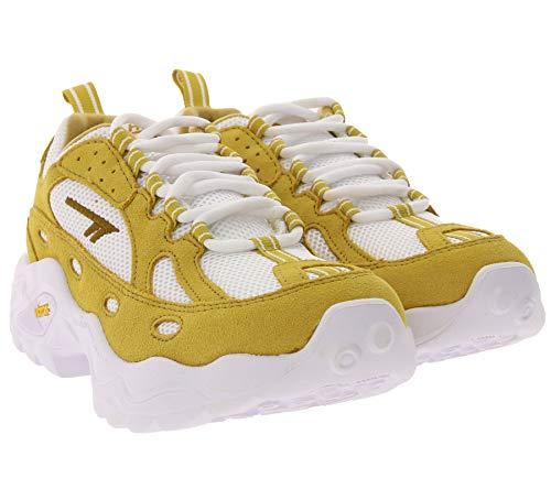 Hi-Tec 90s Turnschuhe stylische Outdoor-Schuhe für Damen mit Dicker Vibram®-Laufsohle Trailrunning-Schuhe Freizeit-Sneaker Gelb, Größe:36
