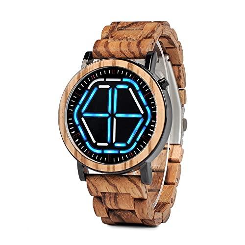 BOBO BIRD Reloj de pulsera de madera con pantalla LED digital para hombre, visión nocturna, hecho a mano, con caja de regalo
