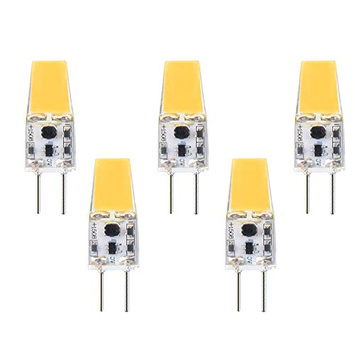 G6.35/GX6.35 3W LED Lampe 12V Birne COB LED Warmweiß 3000K 360° Strahlwinkel Stiftsockel Äquivalent zu 30W Halogenlampe für Schreibtischlampe, JCD LED Halogenlampe (5 Stück)