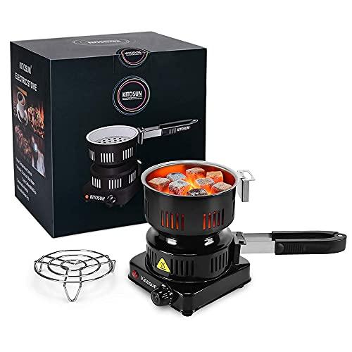 Hornilla Eléctrico Quemador De Carbón Portátil Cocina Hornillo Electrico Con Asa Desmontable Clip de carbón Para Cocina Camping Carbón(600W)