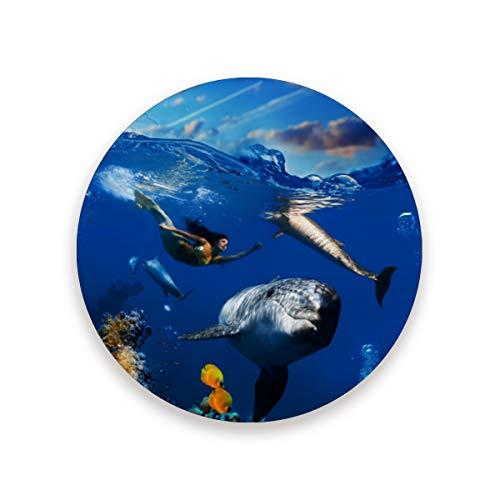 FANTAZIO Unterwasserkorallen-Szene mit Delfinen Fischmuster Cup Mat Untersetzer für Wein Glas Tee Untersetzer mit verschiedenen Mustern passend für Arten von Tassen und Tassen, Holz, 1, 1 piece set