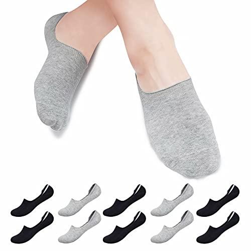 Falechay Calcetines tobilleros Invisibles Mujer Hombre 10 pares, Calcetines Cortos Verano Algodón Transpirables Silicona Antideslizante Negro/Gris 39-42