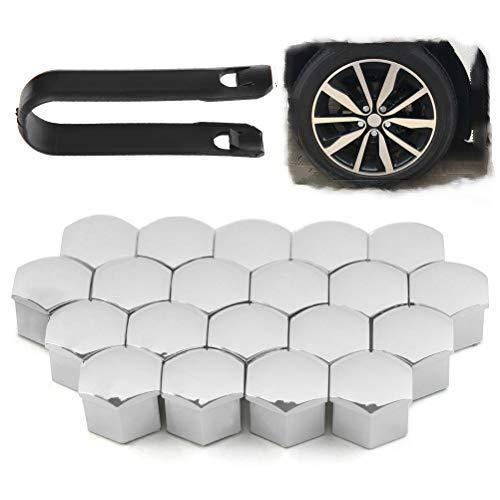 YANSHON 20 Stück Radschraubenkappen, 17mm Radmuttern Kappen, Silber Radkappen, Schraubenkappen für Radschrauben