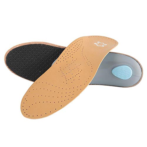 1 Pair Unisex Orthotic Insoles, Flat Feet Arch Support Pain Relive Massage Insole, Invisible Arch Insoles, Anti-Slip Shoe Pads (Brownish Yellow)(35/36)