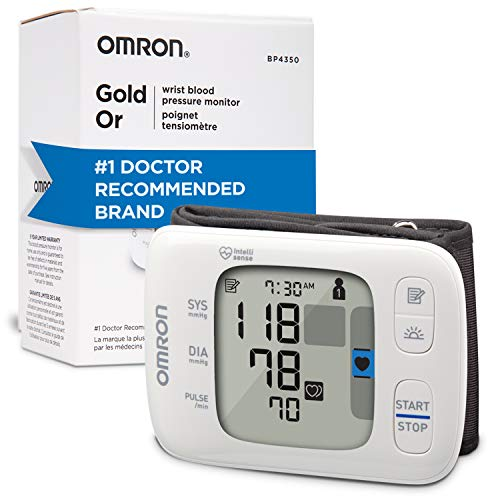 Omron Gold Portable Wireless Wrist Monitor Digital Bluetooth Blood Pressure Machine -Stores Up to 200 Readings for Two Users, White, 1 Count (Pack of 1)