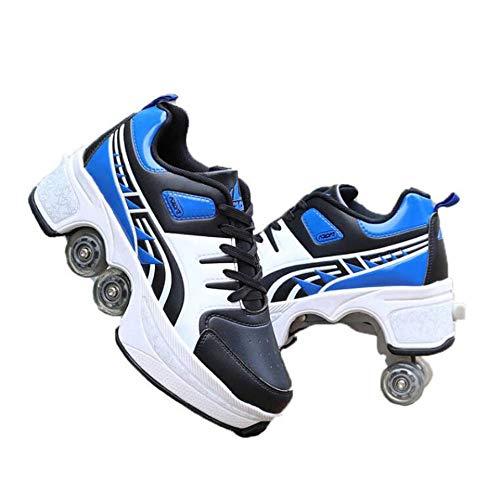 FTYUNWE Inline-Skates Mädchen Rollschuhe Damen,Lauflernschuhe Sneakers Skateboardschuhe Kinder Mit Rollen Multifunktionale Deformation Schuhe Beste Wahl,Blue-36