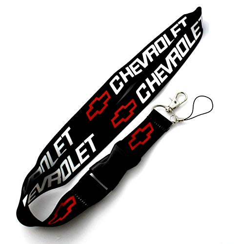 """Black Car Accessory Fabric Lanyard Neck Strap Detachable Clip Black Stripe Wide 1"""" for Chevy Car Key ID Card Mobile Phone Badge Holder"""