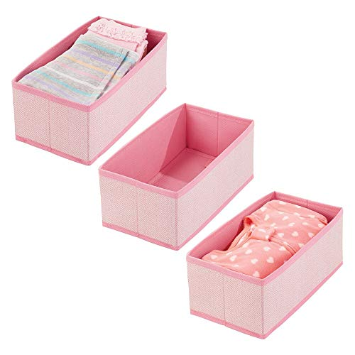 mDesign 3er-Set Baby Organizer aus Polypropylen – Aufbewahrungsbox für Babysachen, Decken etc. – auch zur Spielzeug Aufbewahrung geeignet – rosafarben