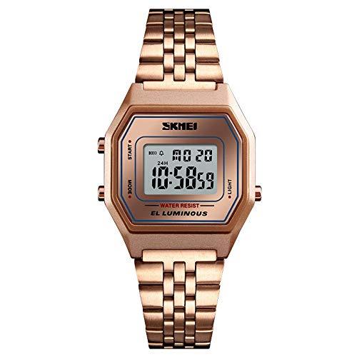 yuge Reloj digital de lujo de oro rosa de acero inoxidable reloj de pulsera deportivo de las señoras reloj reloj Rosegold