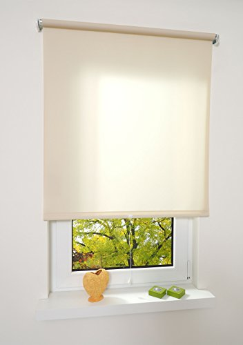 Liedeco® Rollo, Spring-, Schnapprollo / 202 x 180 cm (Breite x Höhe), Cream/lichtdurchlässig, Blickdicht/viele Farben, Größen und Typen/Breiten 60-200 cm/Variable Montage möglich
