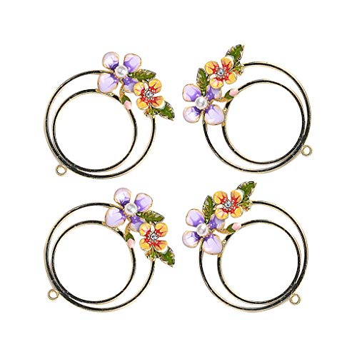 freneci 4pc Flowers Pearl Enamel Charms Pendant Beads for DIY Jewelry Making Finding