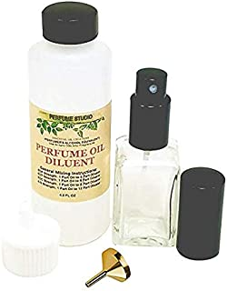 Perfume Making Spray Kit to use with Pure Perfume Oils; 4.2oz Perfumer's Alcohol Equivalent Bottle, 1oz Clear Glass Empty Spray Bottle, 1 Metal Fragrance Funnel (Perfume Spray Making Kit, Set)