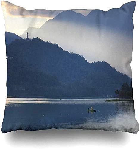 Doble Cojines Fundas 18' Pintoresco Azul Brillante Cultura asiática Nivel del Lago Escena Parques Naranja Nube Costa Amanecer Atardecer Sol Funda de Almohada Suave para la Piel