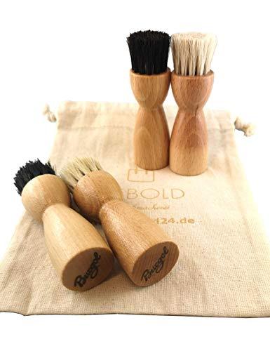 Burgol Hebold - Schuhmacherei Tiegelbürsten-Set 4 teilig zum Auftragen von Schuhpflegemittel + gratis Aufbewahrungsbeutel