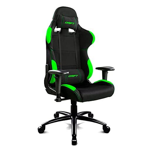 Drift DR100BG - Silla Gaming Profesional, (Tela Alta Calidad, Ergonómica), Color Negro/Verde