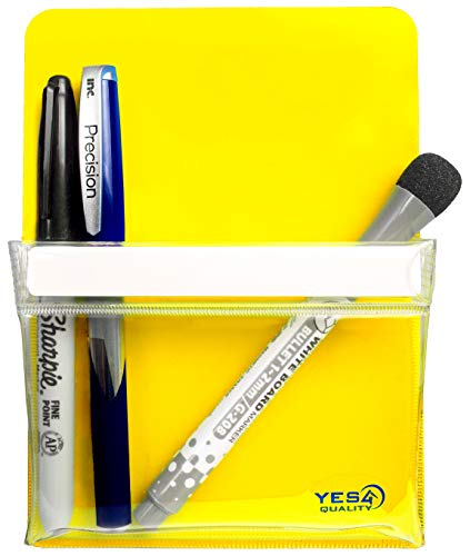 Magnetic Pen Holder for Refrigerator with Strong Magnetic Back - Dry Erase Marker Holder Ideal for Whiteboard, Fridge - Pencil Cup (Medium, Yellow)