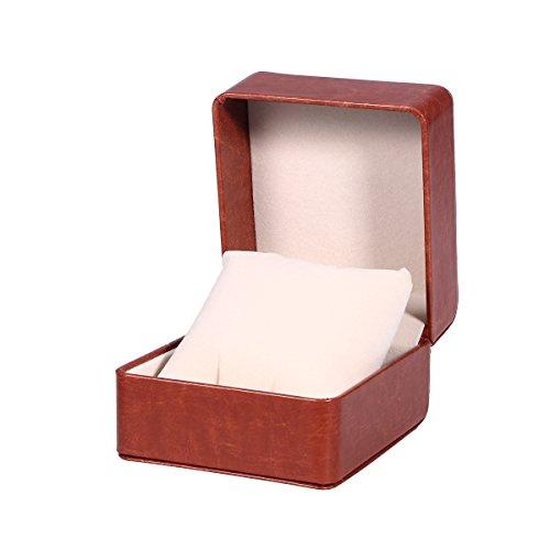 NICERIO Uhrenbox, Premium PU Single Grid Armband Box Geschenkbox Schmuckschatulle mit Kissen, ideal für Weihnachten Neujahr Geburtstagsgeschenk(Kaffee)