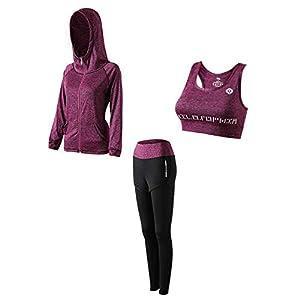 2019 otoño y el invierno ropa de yoga de manga larga traje corriendo el deporte profesional secado rápido traje de ropa de ejercicio, púrpura tres conjuntos (con capucha + sujetador + pantalones), L