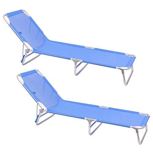 LOLAhome Pack de 2 tumbonas Playa Cama de 3 Posiciones Azul de Aluminio y textileno de 190x58x25 cm