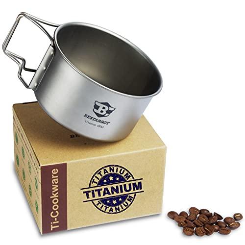 Bestargot Taza de titanio para camping, para exteriores, para mochilero, campamento, taza de viaje multifuncional, olla, capacidad 450 ml,...