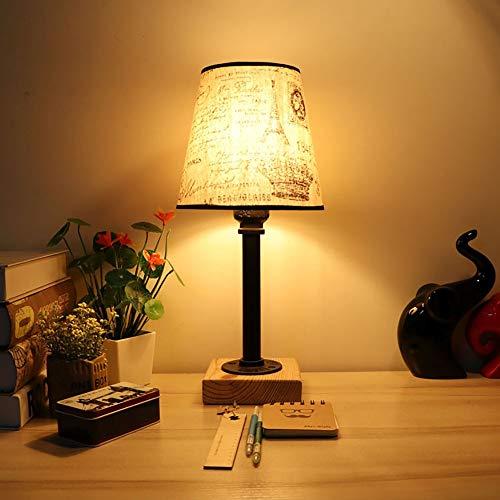 Lámpara de noche vintage, diseño retro, color negro, lado nocturno, vapor, punk de tela, lámpara de mesa, lámpara para dormitorio, taller