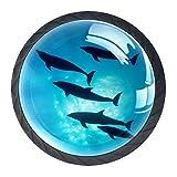 Z&Q Tirador Pomo Mueble Infantil Pescado de mar De Pomos Tiradores para Armario/Cajón/Baño para Habitación de Infantil Decoración 4 Pcs 3.5x2.8CM