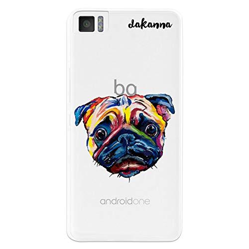 dakanna Kompatibel mit [Bq Aquaris M4.5 - A4.5] Flexible Silikon-Handy-Hülle [Transparenter Hintergr&] Mops Carlino Aquarell-Kopf Design, TPU Hülle Cover Schutzhülle für Dein Smartphone