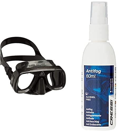 Cressi Tauchmaske Superocchio Gafas De Buceo, Unisex, Negro, Talla Única + Premium Anti Fog - Antivaho Spray para Máscara De Buceo/Gafas De Natación, 60 Ml