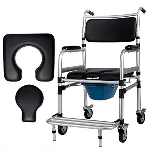 JYTBD YUN TAO Faltbare Duschstuhl mit Rollen for senioren Rollen Casters Commode WC-Sitz Bedside Rollstuhl-Transport Medizinische Rollen Stuhl Max.180kg